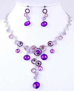 Purple Ringed Bead Link Czekh Rhinestone Crystal Bridal Necklace
