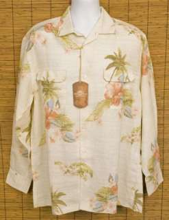 TOMMY BAHAMA New Latitude Lei LS Linen Camp Shirt L NWT