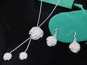 New jewelry silver rose Necklace & Earrings set H827