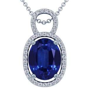Cut Blue Sapphire And Round Diamond Pendant (GIA Certificate) Jewelry