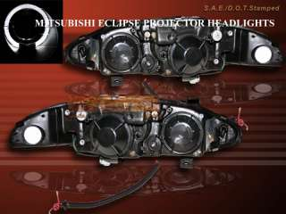 1997 1998 1999 Mitsubishi Eclipse Projector Headlights Black One Halo