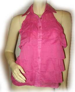 PINK Multi Layered Sleeveless Collared Halter TOP M Med