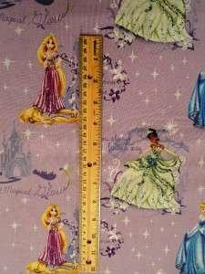 New Disney Princess Rapunzel Tiana Cinderella Stars Castle Moon Fabric