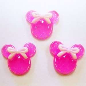 5pc Hot Pink Glitter Mouse Heads Flat Back Resins