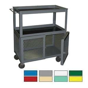 Tier Mobile Shop Cart With Padlockable Hasp Ag Green Office Products