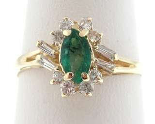 Natural Emerald Diamonds Solid 14k Yellow Gold Ring