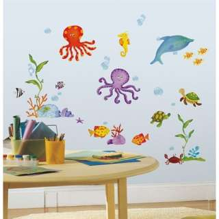 59 New TROPICAL FISH WALL DECALS Octopus Stickers Kids Ocean Bathroom