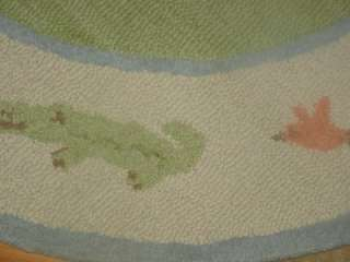 Barn Kids Animals on Parade 5 Round Wool Nursery Rug Green Blue Coral