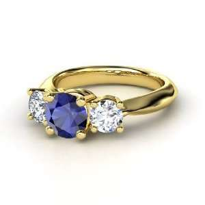 Rosemary Ring, Round Sapphire 14K Yellow Gold Ring with