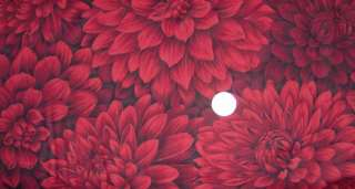 Large Bright Red Mumm Flower Fabric Valance Curtain