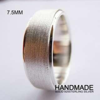 Handmade 7.5mm Mens Solid 925 Sterling Silver Plain Wedding Band Ring