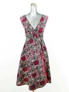 vtg 40s womens black magenta floral WRAP DRESS sleeveless lightweight