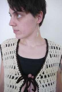 Vtg 70s Hippie WOOL Crochet Sweater Vest Handmade