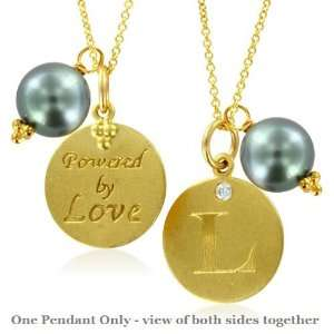 Natural Diamond Initial L, LOVE LETTERS Pendant Pearl Charm in 18k