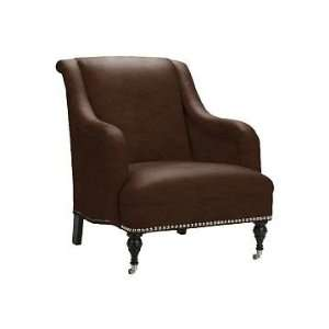 Williams Sonoma Home Simone Chair, Tuscan Leather, Chocolate, Antique