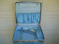 Vintage Blue Samsonite Hard Shell Luggage Suitcase 20x20x7 Clean In