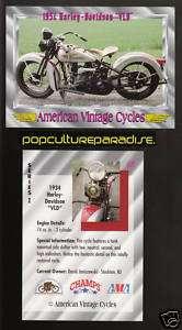 1934 HARLEY DAVIDSON VLD MODEL Vintage Motorcycle CARD