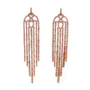 Dangle Earrings with a Myriad of Pavé Pink CZs   Rose Gold Plated
