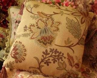 18x18 Throw Pillows Cushions decorative Tassel   Gold Antique
