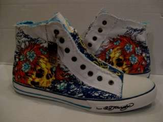 ED HARDY SKULL MENS HIGH TOP WHITE CANVAS SLIP ON SNEAKER TENNIS SHOE