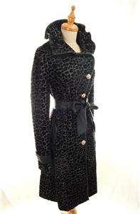 NWT $820 AUTH Le Monrics Faux Pony Hair Animal Print Leopard Wool Coat