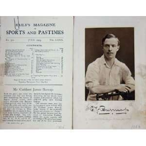 1903 Antique Portrait Mr James Cuthbert Burnup Cricket