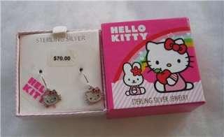 Sanrio Hello Kitty Earrings Sterling Silver 3/4 Boxed NIP