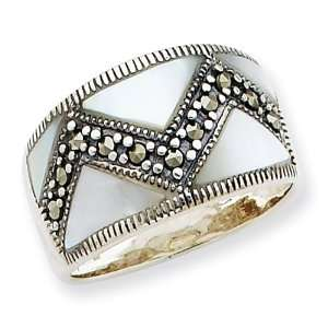 Sterling Silver Marcasite & Mother of Pearl Ring Size 7 Jewelry