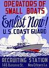 Image of Coast Guard Recruiting Poster WW II Boat Military New Orleans