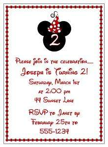 Mickey Mouse Minnie Mouse Birthday Invitation