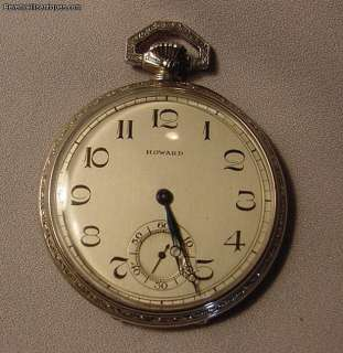 Rare 14k White Gold Howard Art Deco Pocket Watch
