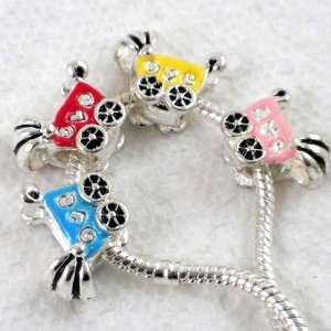 4pcs Mix 4 Colors Baby Cart Large Hole Charm Beads Fit