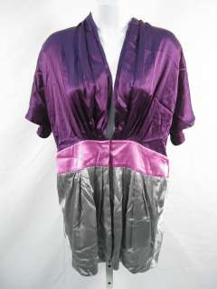 NWT MEGHAN Purple Silk Camaro Top Blouse Shirt 0 $262