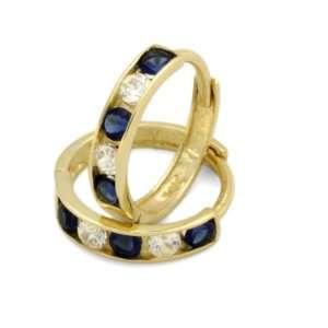 14K Gold Huggie Earrings 2mm Blue & White CZ Yellow Gold Huggie