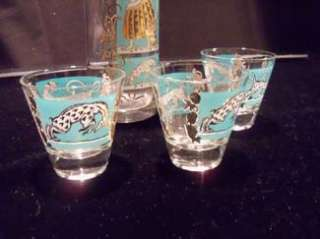 Mid Century Mod Martini Shaker and 3 Cocktail Glasses