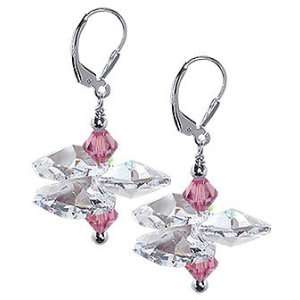 Sterling Silver Pink and Clear Crystal Earrings Made with