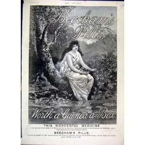 1889 Advert Beechams Pills Medicine Woman Flowers