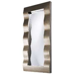 Brushed Silver Finish Contemporary Contour Wall Mirror