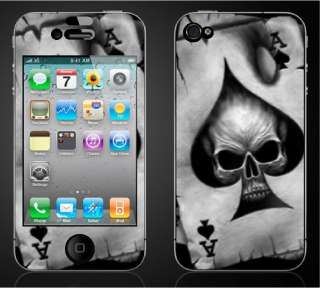 Iphone 4 ACE CARD SKULL DECAL Sticker Skins