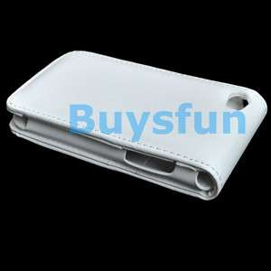 White Leather Flip Vertical Case for iPod Touch 4 4G