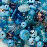grams Lampwork Glass Turquoise Blues Beads Ocean Sea Color Mix