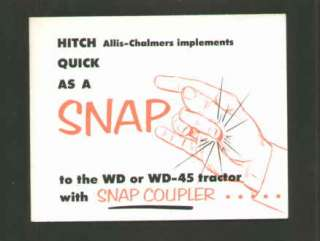 Allis Chalmers WD+45 Tractor Snap Coupler Brochure 1953