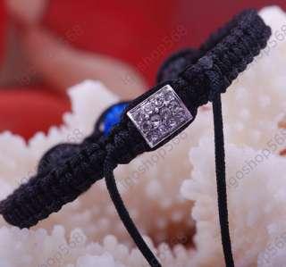 crystal pave disco ball magnetite hematite bead braiding bracelet