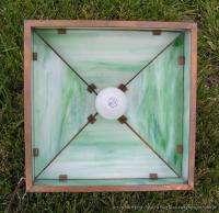 Antique Arts & Crafts Era Hanging Light Lamp w Copper Frame & Green