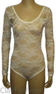New Ladies Lace Stretch Bodysuit Long Sleeve Womens Floral Body