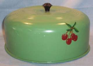VINAGE ALUMINUM CAKE COVER~PAINED GREEN~CHERRY DECALS |