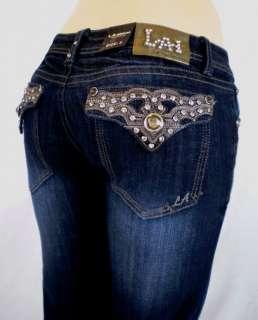 Size LA Idol Bootcut Jeans Crystal Fleur De Lis Jewel Pocket 17,19,21