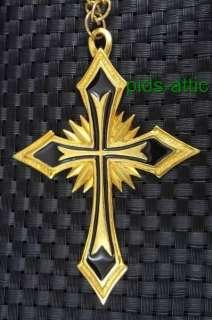 Statement Necklace w/ HUGE Gothic BOHO Cross Pendant Signed JPI 2000