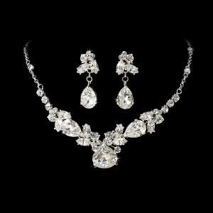 Silver Plated Bridal Wedding Tiara and Jewelry Set