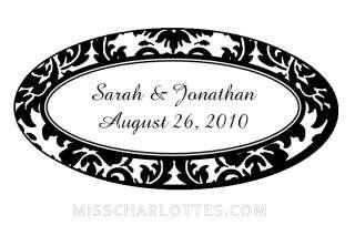 54 Personalized Damask Wedding Oval Favor Labels